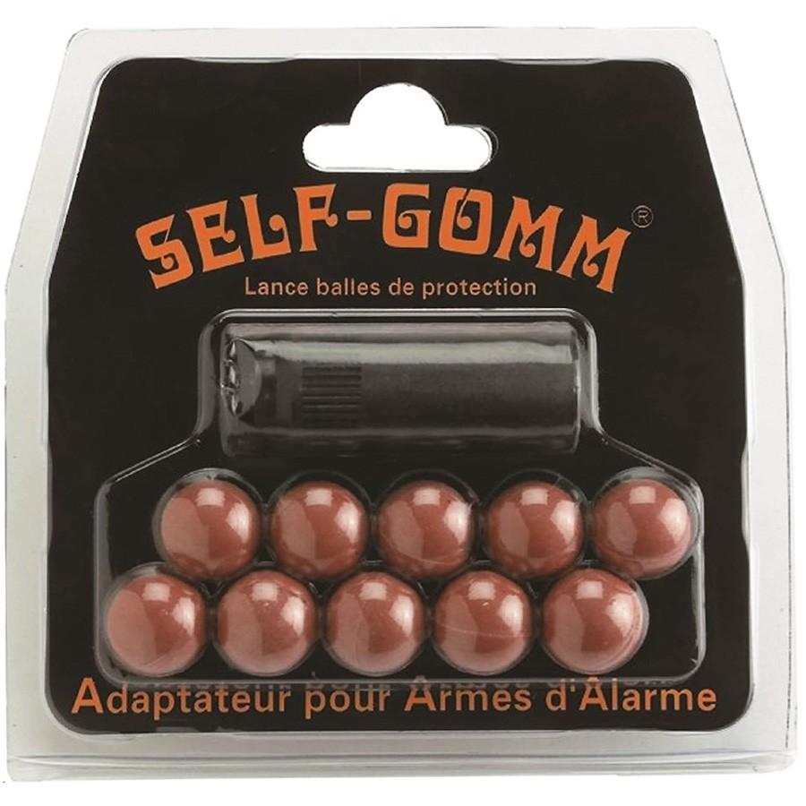 Embout Self-Gomm pour arme d'alarme M10x150 + 10 Balles Caoutchouc - SAPL